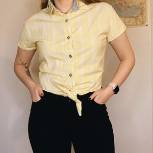 Vintage Yellow tied-front Crop Top